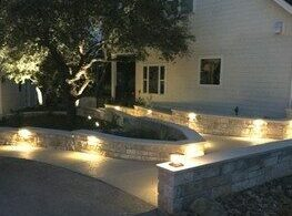 Landscape Lighting on Stone wall