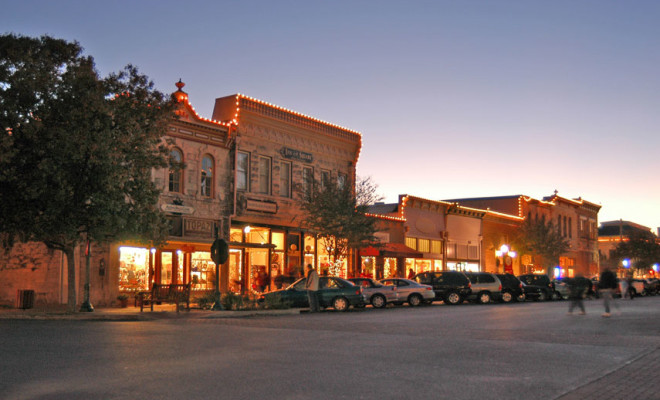 image of one street of the Town Historic Square in Georgetown, TX