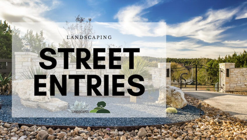 "Image of a gated entry with landscaping and a rock wall with the words ""Landscaping Street Entries"" over-layed on image."