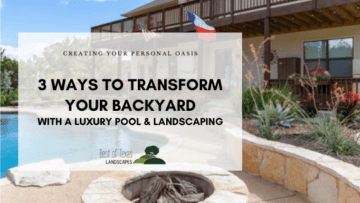 blog cover image with text and picture of pool with landscape design and fire pit